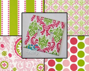 Light Switch & Outlet Covers in Premier Candy Hot Pink and Bright Green Chartreuse - 4 Fabric Prints Damask, Polka Dot, Stripe, Floral
