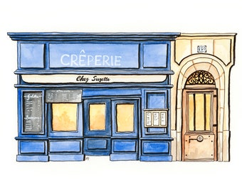 Creperie Storefront A4 Art Print