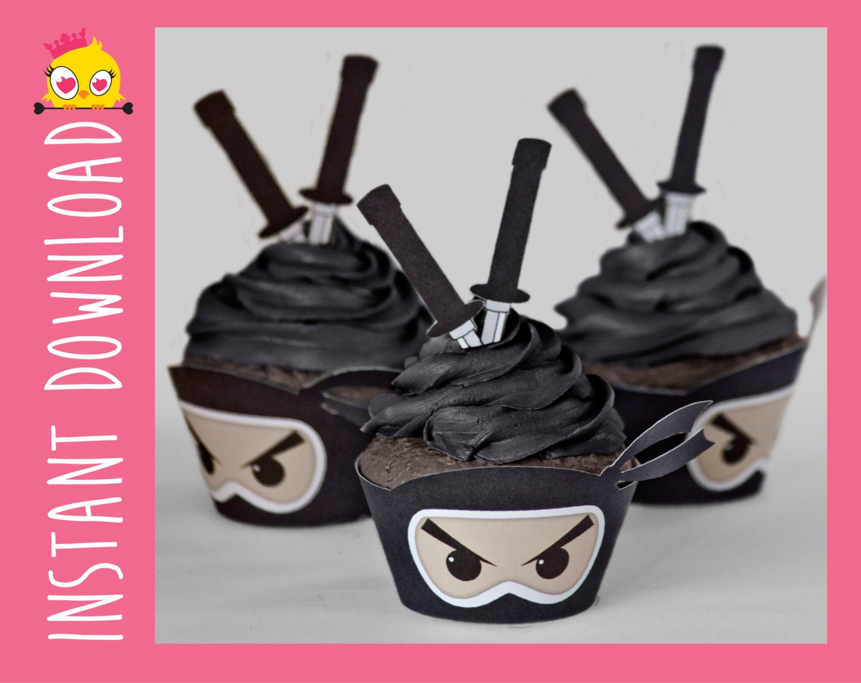 Kawaii Ninja Cupcake Wrappers Toppers PDF