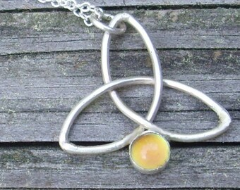 Celtic Trinity Knot with Moodstone Pendant