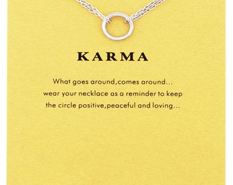 Karma Inspirational Pendant in White Gold