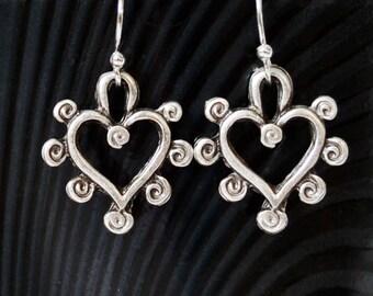 Silver Heart Earrings, Dangle Earrings, Silver Drop Earrings, Dainty Small Silver Earrings, Filigree Earrings, Clip or Pierced