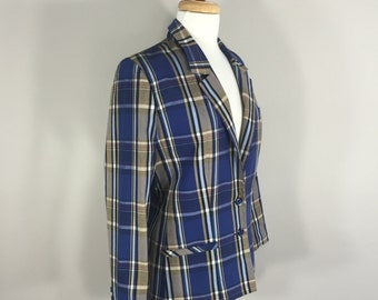 Plaid Jacket spring preppy blazer  vintage Abvien Plaid Jacket Blue and Taupe button jacket, Lined women's Jacket, made in Taiwan