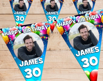 Personalised Happy Birthday PHOTO Flag Banner Bunting with ribbon N65 (10 Flags ) Hanging Decoration 18th 21st 30th 40th Any Age