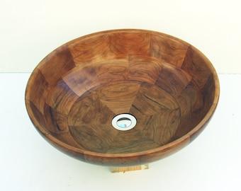 Natron Cherry Wood Sink Bowl. Unique wood vessel sink