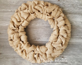 Natural Burlap Wreath, Everyday Wreath, Year Round Wreath, Farmhouse Wreath, Shabby Chic Wreath, Wreath Supplies, DIY Wreath