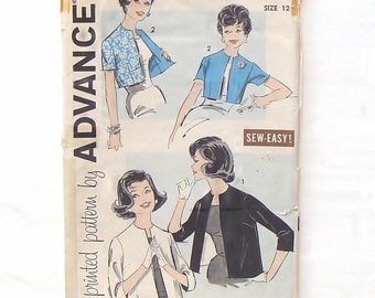 Vintage 60's Advance Reversible Jacket/Bolero Pattern #9321 - Size 12 (Bust 32)