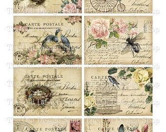 Shabby Altered Postcards ATC Printable Digital Collage Sheet