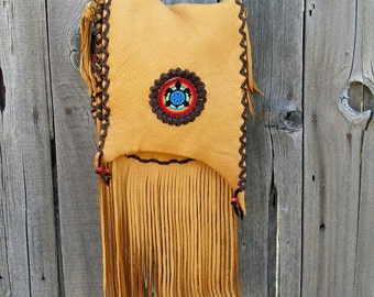 Handmade purse with beadwork,  Beaded turtle totem,  Festival bag, Turtle medicine bag