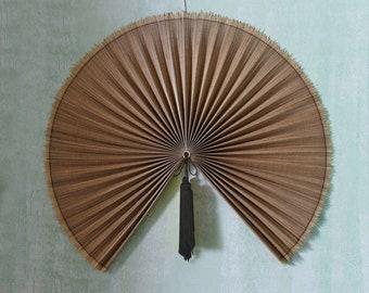 Woven bamboo wall fan