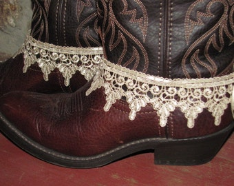 Tea Stained Lace Boot Bracelets/  Cowgirl Wedding /Western Wear Accessories/ / Anklets/ Boot Sweets/ Lace Cuffs