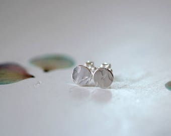 Medium Dots Sterling Silver Stud Earrings Small Simple Hammered Texture Post