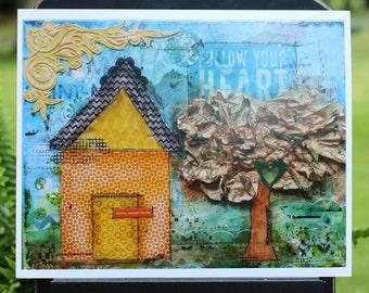 Art Print of Mixed Media Original artwork titled Happy Home