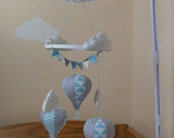 Musical hot air balloon baby mobile Blue geometrical and grey polka