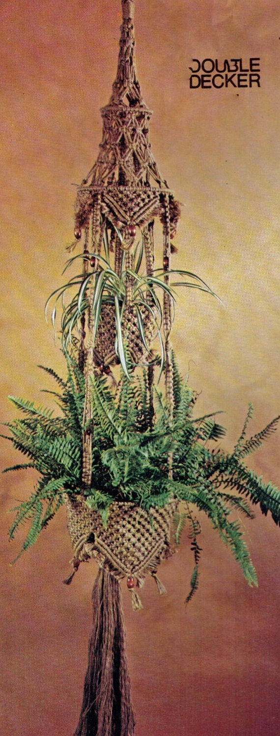 macrame plant hanger pattern pdf vintage 1970s macrame hanging pot plant holder or fruit basket 5457