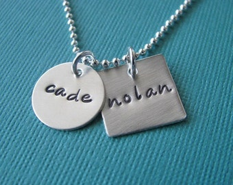 custom circle and square necklace - hand stamped silver
