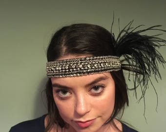 Handmade flapper headband with beaded band and feather detail