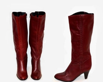 Memorial Day Sale Size 7.5 Women's Vintage Ipanema Stacked High Heel Burgandy Knee High Boots - Made in Brazil