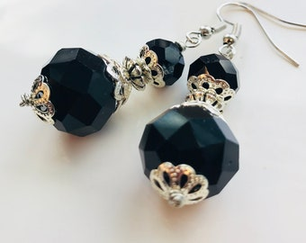 Crystal earrings, black earrings, handcrafted jewelry, earrings for women, gifts for mom, glass earrings, elegant earrings, pinkice jewels