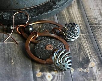 Bohemian Hippie Earrings, Spiral Earrings Hammered Texture Hippie Mixed Metal Hammered Hoop Blue Spirals Rustic Earrings Rustic Jewelry Gift