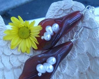 Calypso Carnelian Calla-Lilly Earrings (deep in color)