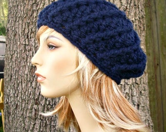 Crochet Hat Womens Hat - Nautilus Ribbed Beret in Navy Blue Crochet Hat - Navy Blue Hat Navy Blue Beret Womens Accessories Winter Hat
