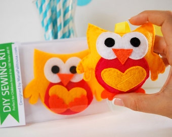 Owl Sewing Kit, Felt Hand-Sewing Kit with PreCut Felt, Craft Felt Sewing Kit, Kid Sewing Kit, diy felt Owl sewing kit, READY TO SHIP A794