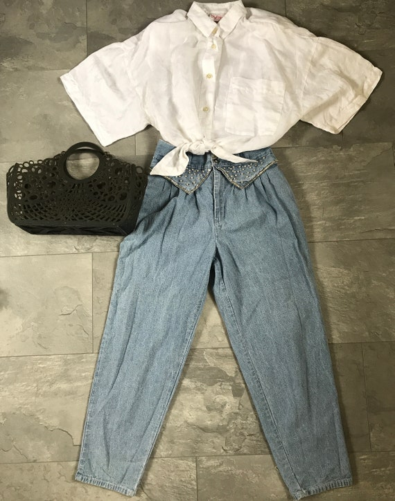 Vintage high waist jeans   vintage mom jeans   washed jeans   sixties jeans   carrot fit jeans   disco jeans