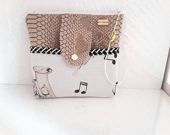 Makeup bag or pouch hand theme music beige fabric and faux leather Mole, cosmetic pouch, pouch bag storage.