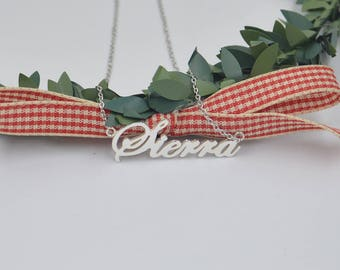 Sterling Silver name necklace-nameplate necklace-personalized jewelry gifts-customized Christmas Gifts for kids,Babies