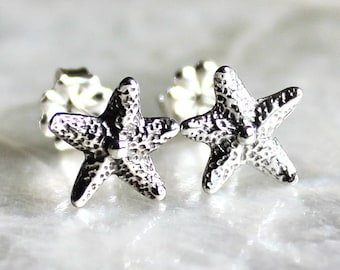 Tiny Dancer Starfish Handcrafted Post Earrings of Sterling Silver - Eco Friendly & Ethical Recycled Silver