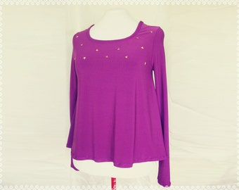 Gold Pyramid Studded Flowy Top - Casual Purple Top with Studs, Top with Triangles, Long Sleeves Flowy Top, OOAK in Size Small/Medium
