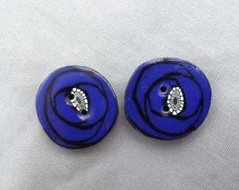 Blue poppy flower 2.2 polymer clay buttons 2 cm. Handcrafted button for customization.