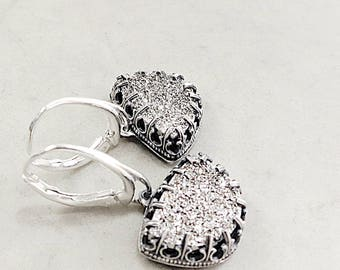Platinum Drusy earrings, Sterling Silver, crown setting, lever backs, raw gemstone, One of a Kind