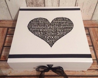 Personalised Grooms keepsake wedding box gift . Size 30cm x 30cm x 9.5 cm