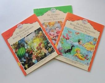 3 Vintage Kids Dr Drabble Books - Spectacular Shrinker Enlarger, Underwater Breathing Pills, & Dynamic Duplicator - Kids Storybook Set of 3