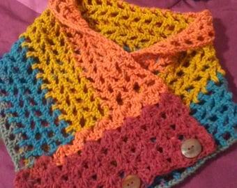 crochet  button cowl and headband set.