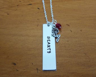 Beauty and the Beast necklace. Beauty, Belle necklace. Enchanted rose necklace. Hand stamped. With Love From OC.