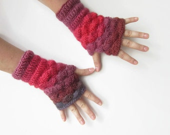 Crochet Shell Red Grey Mittens. Multicolored Wrist Warmers. Handknitted Fingerless Gloves. Handmade Women Winter Accessories.