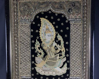 Tapestry wall framed embroidered Burma Bagann rare XX th 71cm