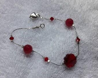 sterling silver red crystal bracelet
