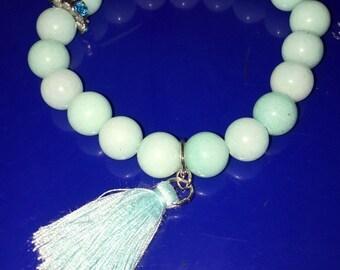 Jade Beaded Tassel Bracelet