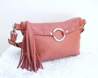 Pink Leather waist bag, fanny bag, hand-freed pouch, shoulder bag with tassel - Dusty pink