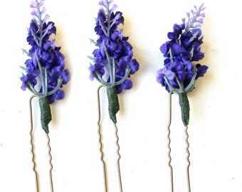 3 x Lavender Flower Hair Pins Bridal Bridesmaid Clip Artificial Purple Set 1442