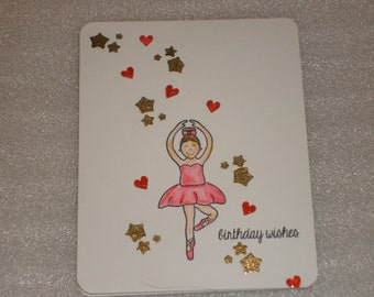 Ballerina Birthday Card, Ballet Dancer Birthday Card, Pointe Dancer