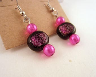 Pink czech glass and Dichroic glass earrings