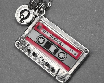 Cassette tape necklace, cassette tape charm, mixed tape necklace, audio cassette charm, personalized jewelry, initial necklace, monogram