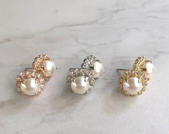 Pearl bridesmaid earrings - wedding earrings - pearl earrings - stud earrings - custom earrings - bridal jewelry -  Harper earrings