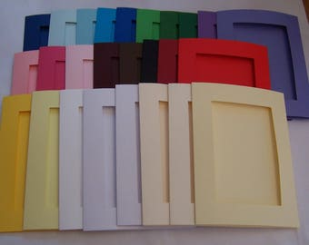 """Card Blanks, 5 Oblong aperture cards, greeting cards blanks with 5 white envelopes, Aperture cards, 8 x 6 """", assorted colors"""