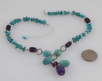 Turquoise necklace 92.5 Silver, Lobster claw clasp, Spacer beads, Hoop beads, Turquoise chips, Purple amethyst and Turquoise beads